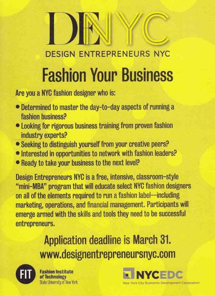design  entrepreneurs call deadline  march 31st- 2013