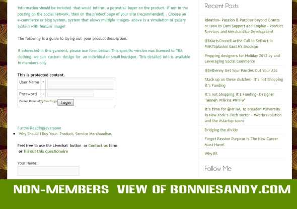 Non Members or non logged in view