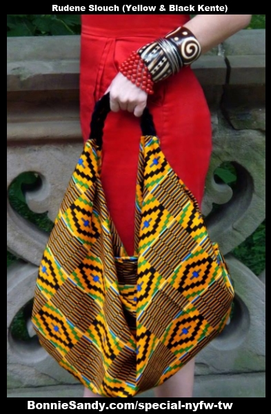 Rudene Bag -Yellow - Black Kente